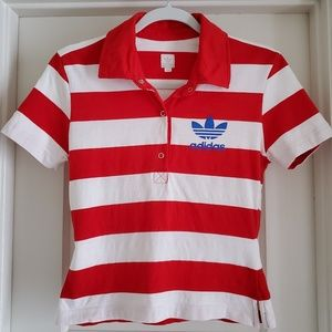 adidas Blue Trefoil Size Small Striped Fitted Polo